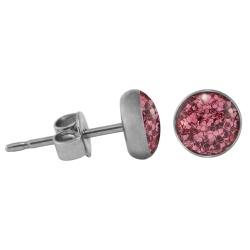 Chirurgenstahl Ohrstecker Glitterline pink 4 mm