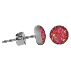 Chirurgenstahl Ohrstecker Glitterline pink-aurora borealis 4 mm