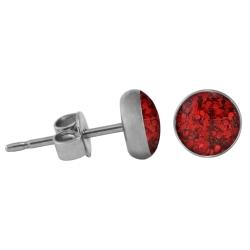 Chirurgenstahl Ohrstecker Glitterline rot 10 mm