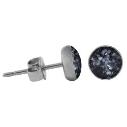 Chirurgenstahl Ohrstecker Glitterline schwarz 6 mm