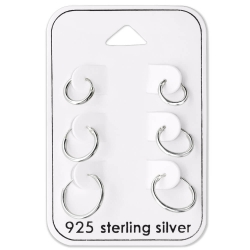 Ohrringe Set 925 Sterling Silber Creolen 8-12 mm