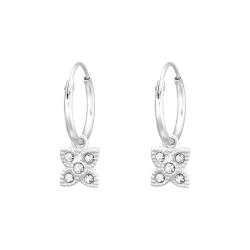 Creolen Ohrringe 925 Sterling Silber Blume mit Kristallen