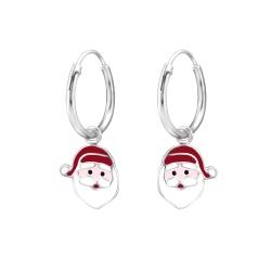 Creolen Ohrringe 925 Sterling Silber mit Weihnachtsmannkopf