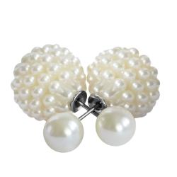 Modeschmuck Doppelperlen Ohrstecker mit kleinen Perlen in weiß