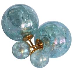 Modeschmuck Doppelperlen Ohrstecker Crackle Style in blau