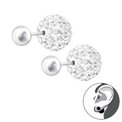 Doppelperlen Ohrstecker 925 Sterling Silber mit Shamballa Kugel