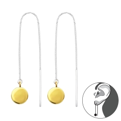 Durchzieher Ohrringe 925 Sterling Silber mit rundem Anhänger vergoldet
