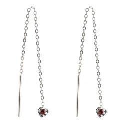 925 Sterling Silber Durchzieher Ohrhänger mit Herz diamantiert und Zirkonia in rot
