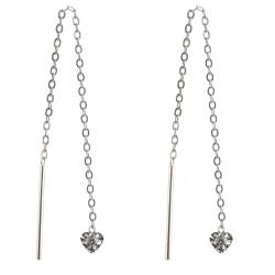 925 Sterling Silber Durchzieher Ohrhänger mit Herz diamantiert und Zirkonia in transparent