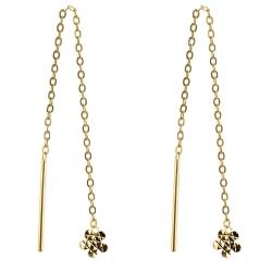 333 Gelbgold Durchzieher Ohrringe mit Blume diamantiert