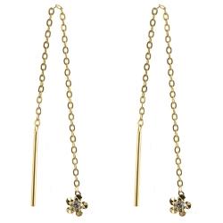 333 Gelbgold Durchzieher Ohrringe mit Blume diamantiert und Zirkonia