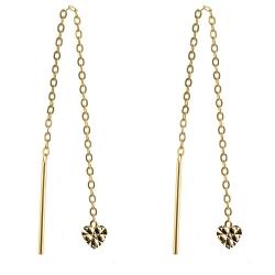 333 Gelbgold Durchzieher Ohrringe mit Herz diamantiert