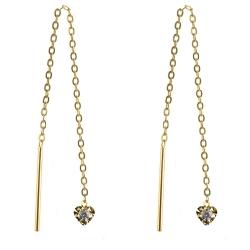 333 Gelbgold Durchzieher Ohrringe mit Herz diamantiert und Zirkonia