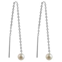 925 Sterling Silber Durchzieher Ohrringe mit Süßwasserzuchtperle 4 mm