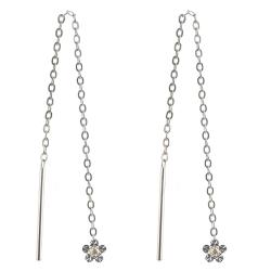 925 Sterling Silber Durchzieher Ohrringe mit Blume diamantiert und Zirkonia