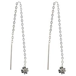 925 Sterling Silber Durchzieher Ohrringe mit Kleeblatt diamantiert und Zirkonia