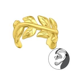 Ear Cuff 925 Sterling Silber vergoldet Ohrklemme mit Weinblättern