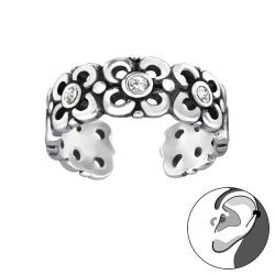 925 Sterling Silber Ear Cuff Ohrklemme Blumen mit Kristallen