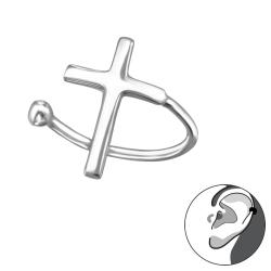 925 Sterling Silber Ear Cuff Ohrklemme mit Kreuz