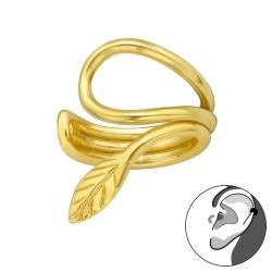 Ear Cuff 925 Sterling Silber vergoldet Ohrklemme mit Blatt
