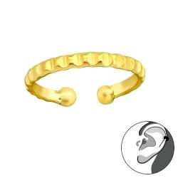 925 Sterling Silber Ear Cuff vergoldet Ohrklemme geriffelt