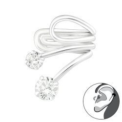 Ear Cuff 925 Sterling Silber Ohrklemme mit Zirkonia-Steinen