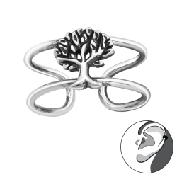 Ear Cuff 925 Sterling Silber oxidiert Ohrklemme mit Lebensbaum