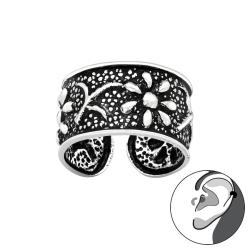 Ear Cuff 925 Sterling Silber oxidiert Ohrklemme mit Blumen