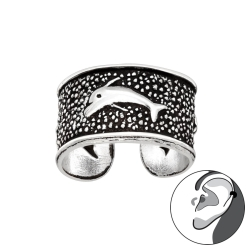 Ear Cuff 925 Sterling Silber oxidiert Ohrklemme mit Delfin
