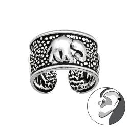 Ear Cuff 925 Sterling Silber oxidiert Ohrklemme mit Elefant