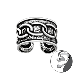 Ear Cuff 925 Sterling Silber oxidiert Ohrklemme mit Kettenmuster