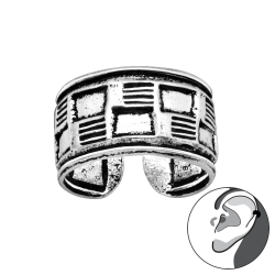 Ear Cuff 925 Sterling Silber oxidiert Ohrklemme mit Rattanmuster