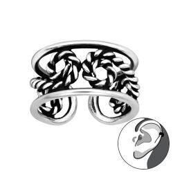 Ear Cuff 925 Sterling Silber oxidiert Ohrklemme mit Seil
