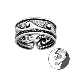 Ear Cuff 925 Sterling Silber oxidiert Ohrklemme mit Wellen