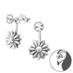 Ohrstecker Ear Jacket 925 Sterling Silber mit Blume