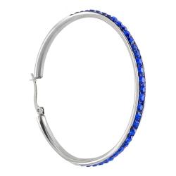 Edelstahl Creolen Ohrringe 50mm mit Swarovski Elements Kristallen in blau
