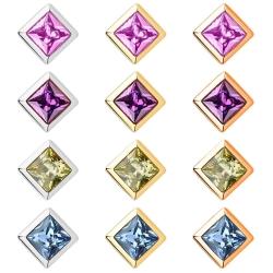 Edelstahl Ohrstecker gelbvergoldet oder rosévergoldet mit quadratischem Kristallstein