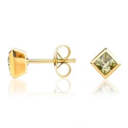 Edelstahl Ohrstecker gelbvergoldet mit quadratischem Kristallstein in grün