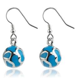 Edelstahl Ohrhaken Ohrringe Kugel mit Emaille in blau
