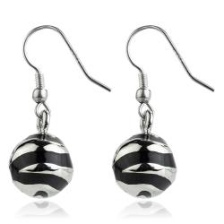 Edelstahl Ohrhaken Ohrringe Kugel mit Emaille in schwarz