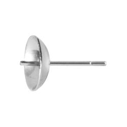 Edelstahl Ohrstecker Rohling mit Perlenschale 6-8mm