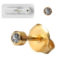 Erstohrstecker 750er Gelbgold mit April Kristall 3mm