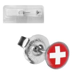Erstohrstecker Chirurgenstahl Flagge Schweiz