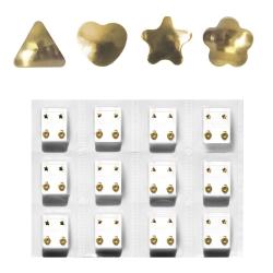 Erstohrstecker Set Chirurgenstahl vergoldet - 12 Paar Ohrstecker verschiedene Formen 4mm