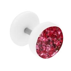 Fake Plug Ohrstecker weiß Glitterline in Pink