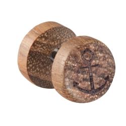 Fake Plug Ohrstecker Holz mit Anker 10mm