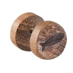 Fake Plug Ohrstecker Holz mit Fisch 8mm