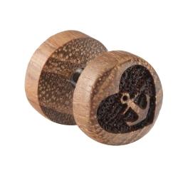 Fake Plug Ohrstecker Holz mit Herzanker 10mm