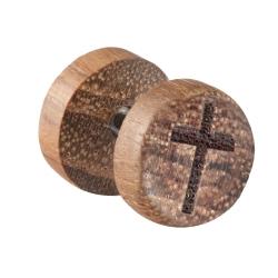 Fake Plug Ohrstecker Holz mit Kreuz 10mm