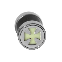 Fake Plug leuchtend mit Kreuz 10 mm